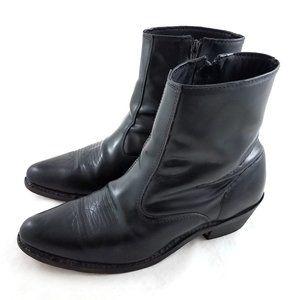 Laredo Black Leather Western Ankle Boots Zipper